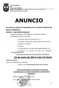 ANUNCIO QUIOSCO AMARILLO