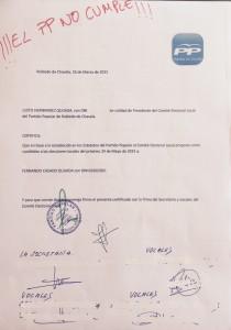 Acta de la Junta Local del PP de Robledo.