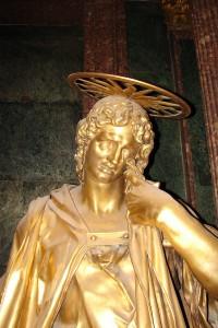 Imagen de San Juan en el retablo de la Basilica, relacionado con el Expolio del Monasterio