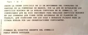 Notificación de los servicios mínimos para la huelga.