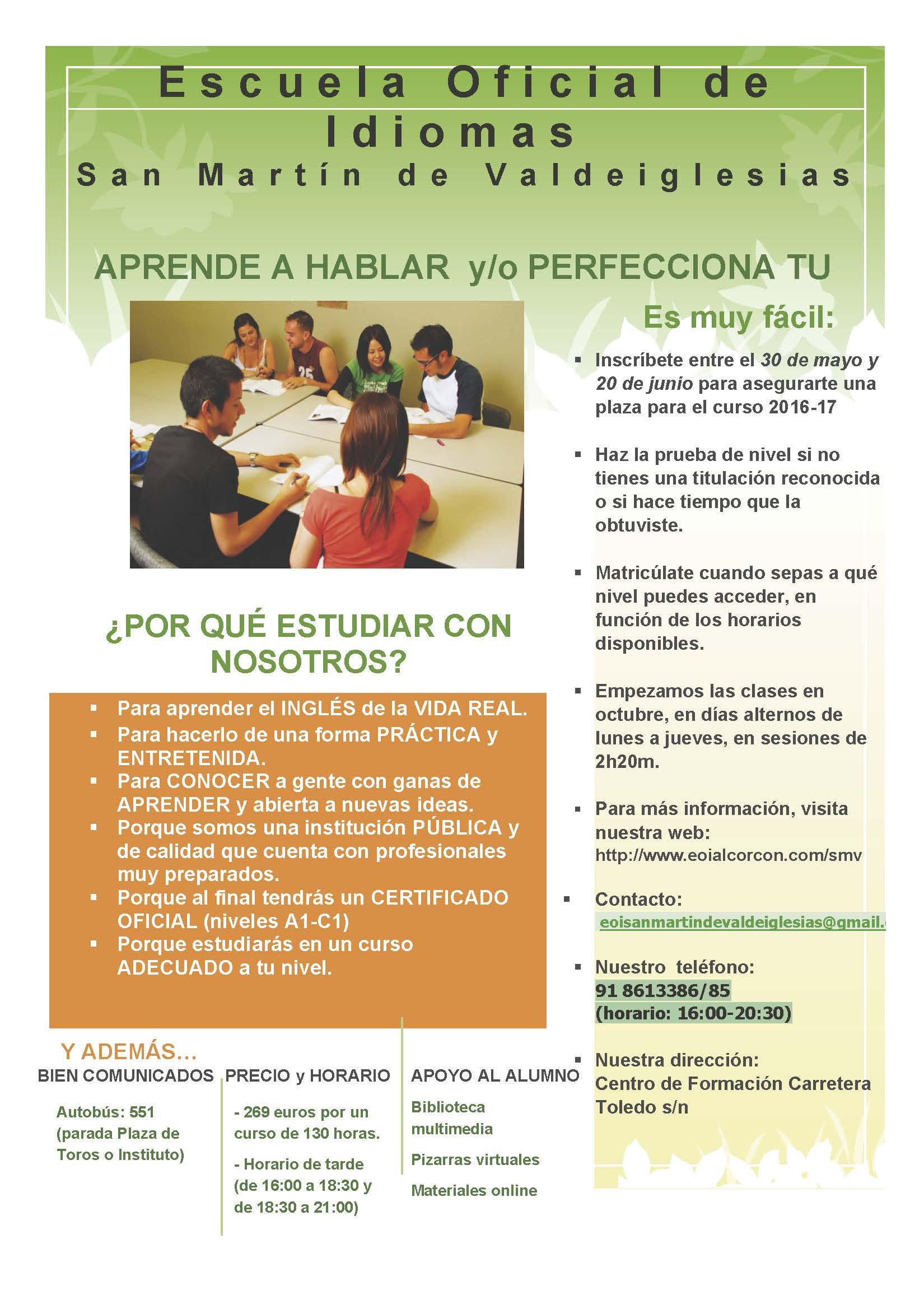 Folleto Informativo Preinscripcion EOI San Martín de Valdeiglesias