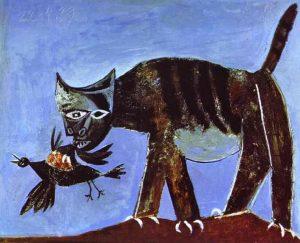Gato y ave. Óleo Pablo Picasso.