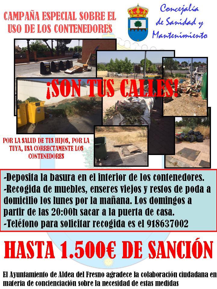 Campa a de concienciaci n del uso de contenedores en aldea for Recogida de muebles viejos